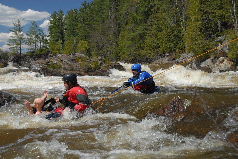 Foot entrapment in whitewater rescue scenario