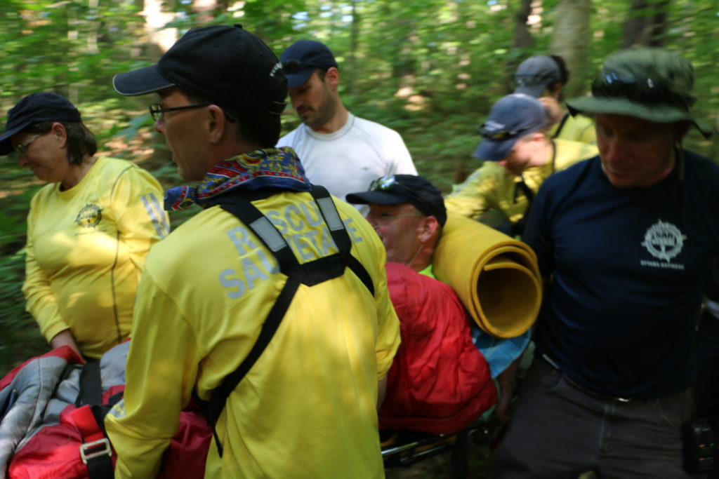 Search and Rescue (SAR) team training on wilderness medicine course